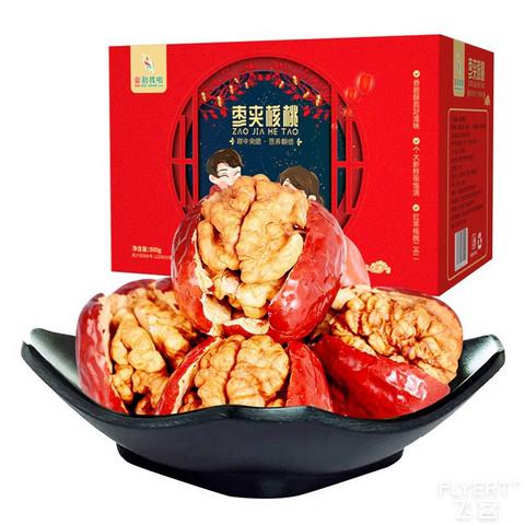 亲别找啦 新疆特产若羌红枣夹核桃 500g彩箱礼盒