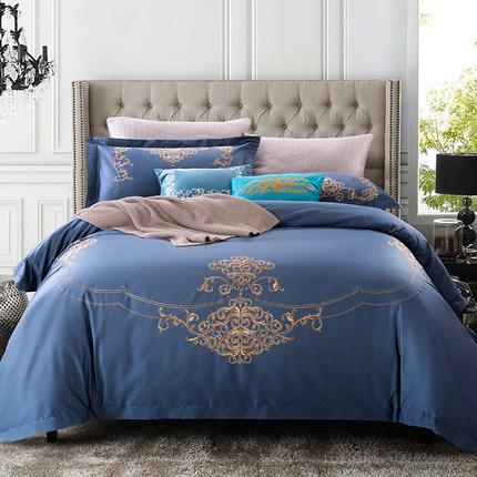 五星级酒店床上四件套全棉纯棉60支贡缎欧式绣花1.8m床双人