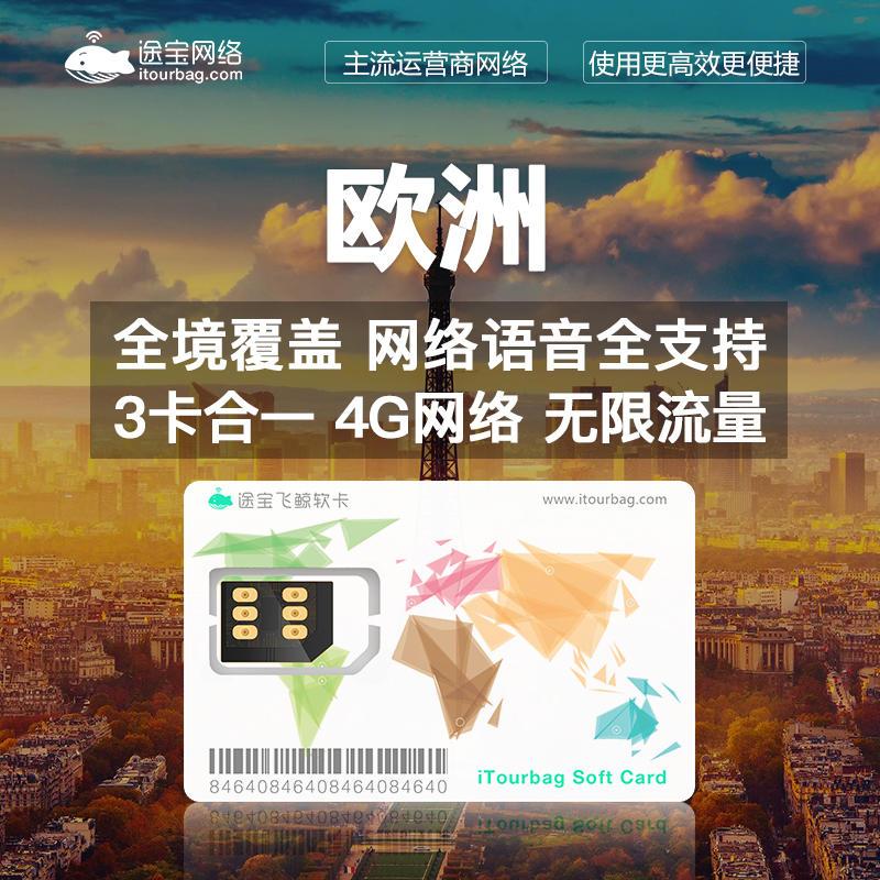 欧美、澳新、南非、大洋洲多国4G电话上网卡无限流量卡1天/10天/15天/30天含软卡