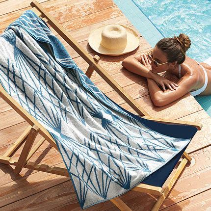 星级酒店游泳浴巾夏季男女士沙滩巾 旅游度假 纯棉成人 柔软超强吸水 加大尺寸