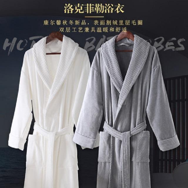 五星级酒店洛克菲勒浴袍男女情侣纯棉毛巾料秋冬季加厚浴衣成人全棉
