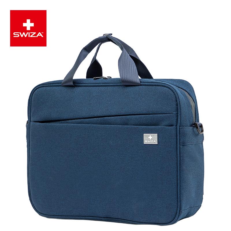 SWIZA百年瑞士电脑包单肩14/15英寸男女苹果联想戴尔手提单肩笔记本内胆包斜跨包出差公文包横款