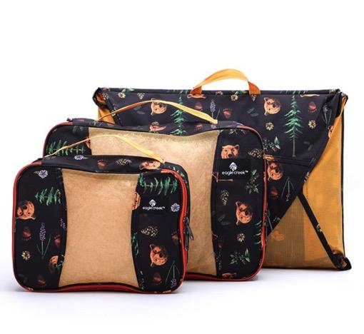 美国EAGLE CREEK逸客打理袋户外旅行衣物防皱收纳整理包袋经典3件套装出差旅游必备PACKIT 黑色金州印花