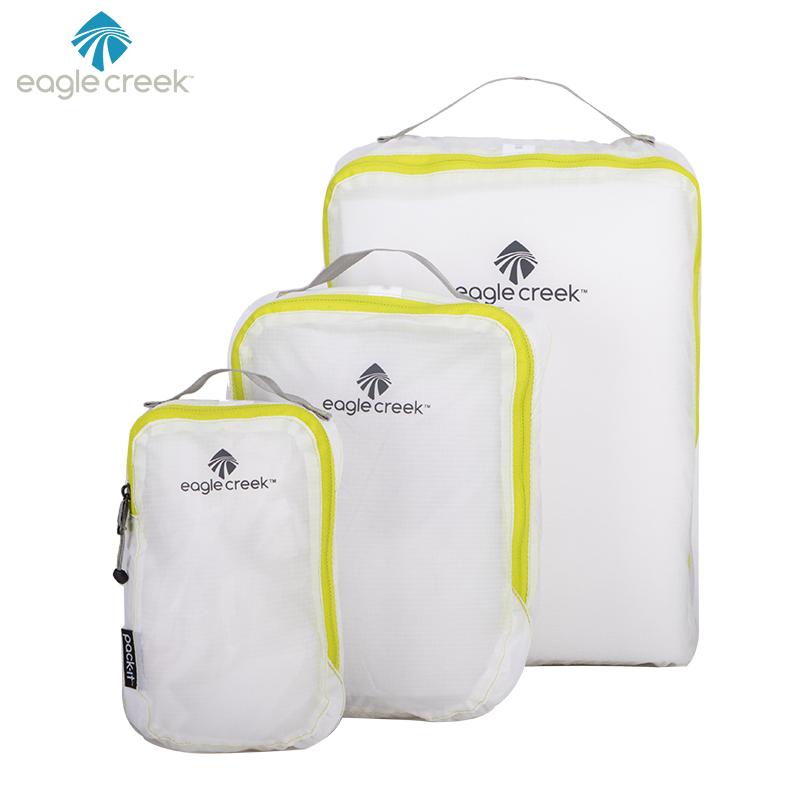 美国EAGLE CREEK逸客防水耐磨旅行收纳袋便携打理套装抗撕裂洗漱包出差旅游回家必备PACKIT 白色三件套