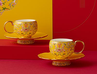 国瓷永丰源 帝王黄新宫廷瓷2/4头茶咖杯碟 茶杯咖啡杯 珐琅彩