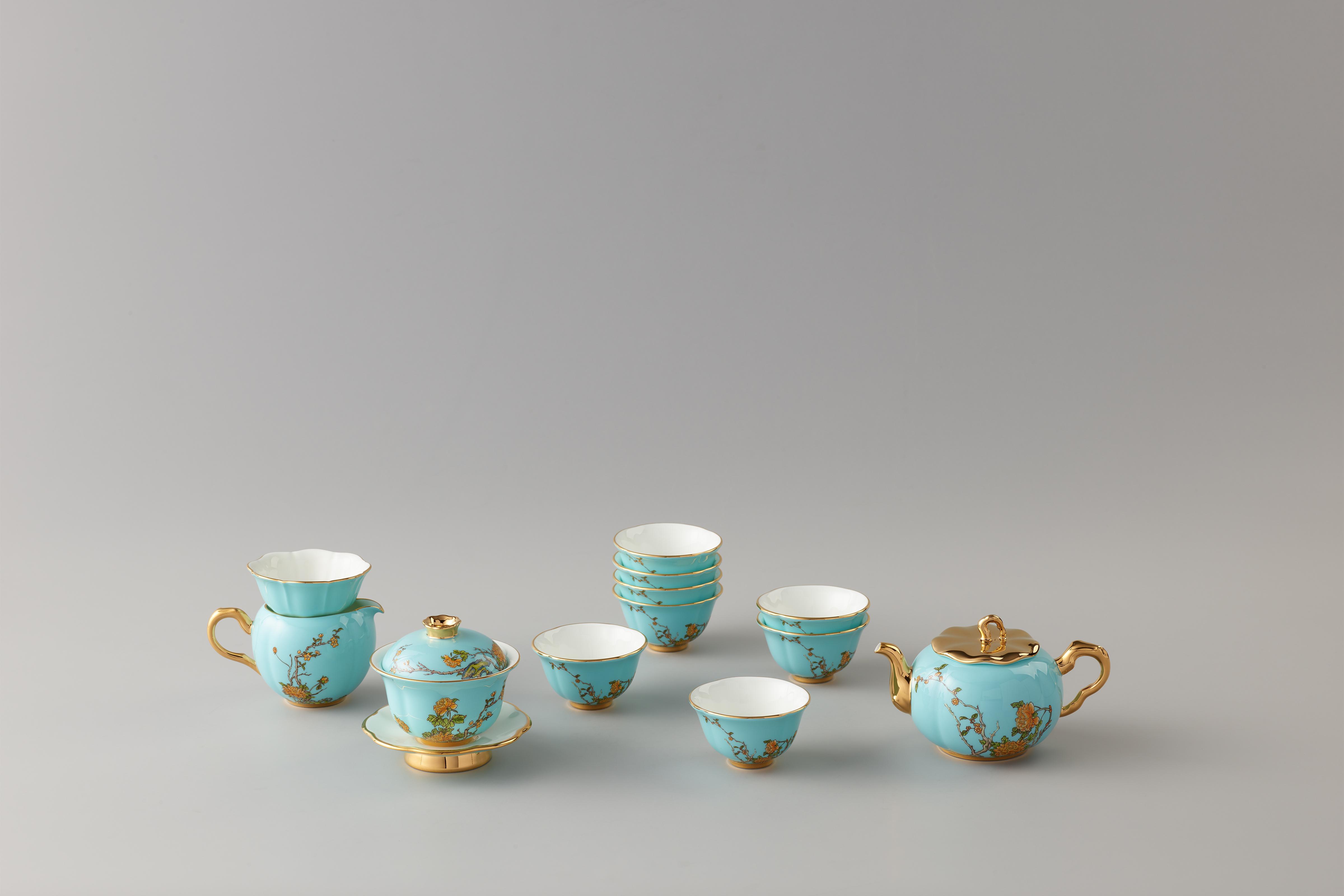夫人瓷·西湖蓝15头茶具